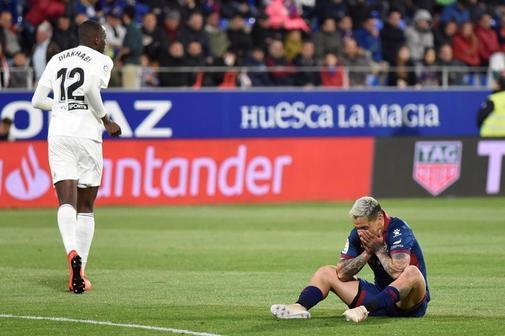 Chimy Ávila, jugador del Huesca, en el partido ante el Valencia.