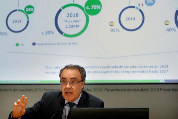 El consejero delegado de Cellnex, Tobías Martínez, durante la rueda...