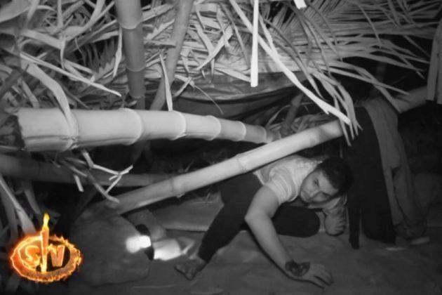 Omar Montes tras el derrumbe de su cabaña en Supervivientes 2019 en...