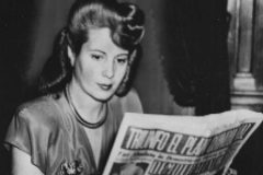 Eva <HIT>Peron</HIT>, Wife of the President of Argentina, reading a copy of the 'Democrazia' newspaper, of which shwe is the owner, April 1947. (Photo by Keystone/Hulton Archive/Getty Images)