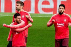 EPA3423. <HIT>LIVERPOOL</HIT> (REINO UNIDO).- Los futbolistas del Barcelona (i-d), el delantero argentino Leo Messi, el defensa español Gerard Piqué y el delantero uruguayo Luis Suárez; asisten a una sesión de entrenamientos en el estadio de Anfield, <HIT>Liverpool</HIT> (Reino Unido) este lunes, en el marco del partido de vuelta de la semifinal de la Liga de Campeones de la UEFA que disputará contra el <HIT>Liverpool</HIT> el 7 de mayo.