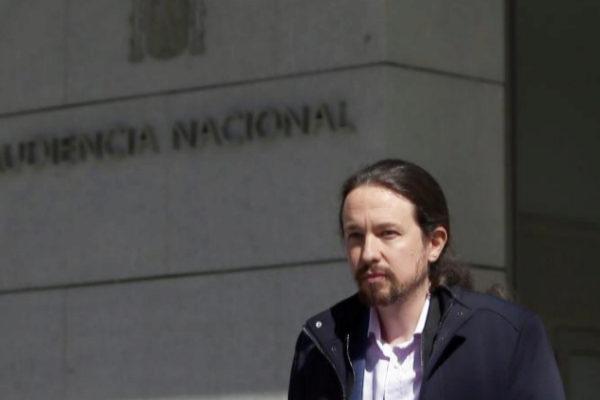 Pablo Iglesias sale de la Audiencia Nacional tras declarar ante el juez.