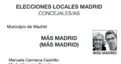 Imagen de la papeleta de Más Madrid al Ayuntamiento