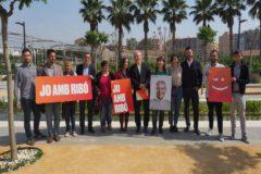 Ribó, con los miembros de la candidatura en el Parque Central.