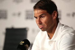 MADRID, SPAIN - MAY 07: Rafael <HIT>Nadal</HIT> of Spain attends a press conference during day four of the Mutua Madrid Open at La Caja Magica on May 07, 2019 in Madrid, Spain. (Photo by Alex Pantling/Getty Images)