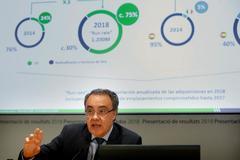 El consejero delegado de Cellnex, Tobías Martínez, durante la rueda de prensa en la que ha anunciado que Cellnex cerró 2018 con unas pérdidas de 15 millones de euros.