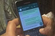 Captura de los SMS que envió Fernando Giner en el pleno de Valencia