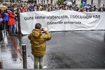 Manifestación de padres de la concertada en Bilbao.