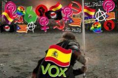 Meme que publicó Vox el 28-A con la imagen de Viggo Mortensen.
