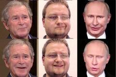George W. Bush,  con la voz y los gestos manipulados por el investigador Justus Thies. Y Vladimir Putin junto a las imágenes de Matthias Niessmer, del Visual Computing Lab de la Universidad Técnica de Múnich.