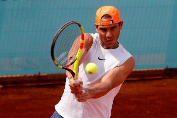 Rafa Nadal entrena en el Mutua Madrid Open 2019