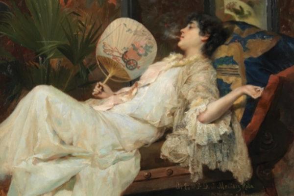 La obra titulada Mujer descansando (1894) de Frances Masriera.