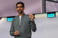 El CEO de Google, Sundar Pichai, durante la I/O de Google