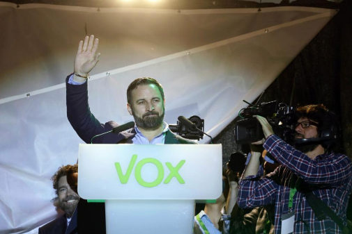 Santiago Abascal, en el cierre de campaña de Vox antes del 28-A