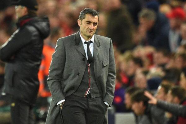Ernesto Valverde, el martes en Anfield.
