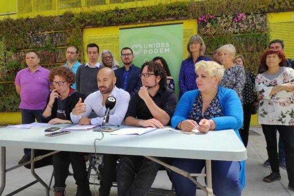 Los cuatro primeros puestos de la lista de Unidas Podemos, con Marisol Moreno y Dani Simón (primera y tercero por la izquierda).
