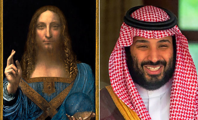 El 'Salvator Mundi', adjudicado a Da Vinci por muchos expertos, y el príncipe Bin Salman, quien lo habría comprado en una subasta.