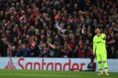 Leo Messi tras la derrota ante el Liverpool.