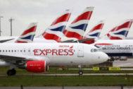 Avionesde British Airways en el aeropuerto de Heathrow, Londres.