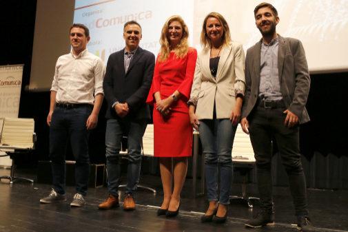 De izquierda a derecha: Ignasi Garcia (Compromís), Alejandro Marín-Buck (Cs), Amparo Marco (PSPV), Begoña Carrasco (PP), y Fernando Navarro (Podem), este jueves, en el debate organizado por adComunica en la UJI.