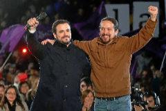 Pablo Iglesias y Alberto Garzón, en el cierre de campaña para el 28-A