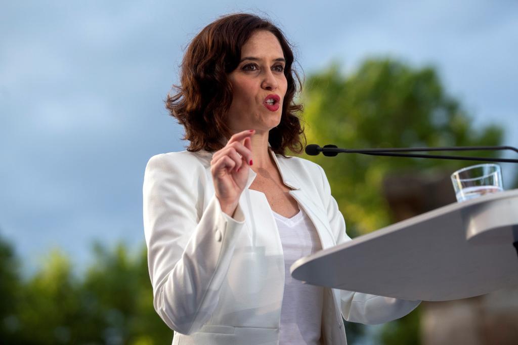 Isabel Díaz Ayuso en el acto de presentación de campaña.