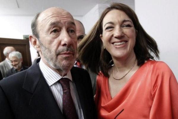 Alfredo Pérez Rubalcaba junto a Soraya Rodríguez.