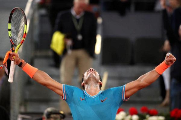 Rafa Nadal celebra su victoria sobre Wawrinka.