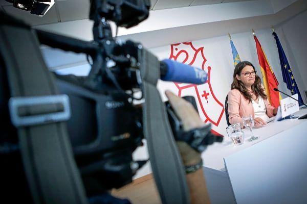 Mónica Oltra, ayer, en la rueda de prensa tras la celebración del pleno del Consell.