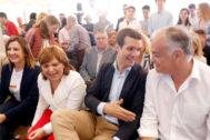 María José Catalá, Isabel Bonig, Pablo Casado y Esteban González Pons, ayer, en el Ateneo Mercantil de Valencia.