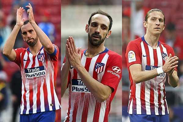 Godín, Juanfran y Filipe.