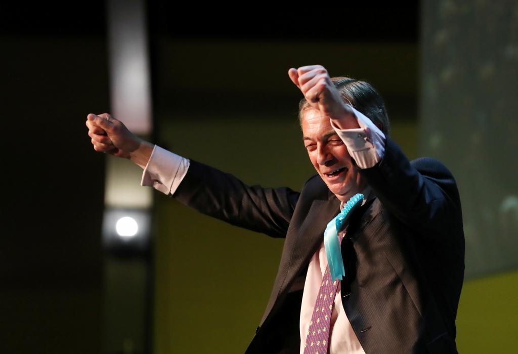 Nigel Farage, líder del Partido del Brexit, en un acto electoral este sábado.