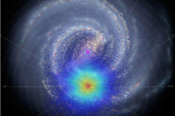 96947bf97ec La ilustración está basada en datos recogidos por 'Gaia' y muestra la  distribución de los tres millones de estrellas usadas en este estudio y un  esquema de ...