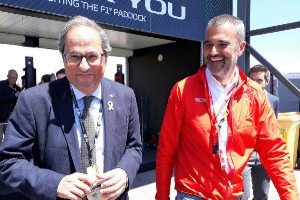 Quim Torra con Joan Fontserè, director del circuito, en Montmeló.