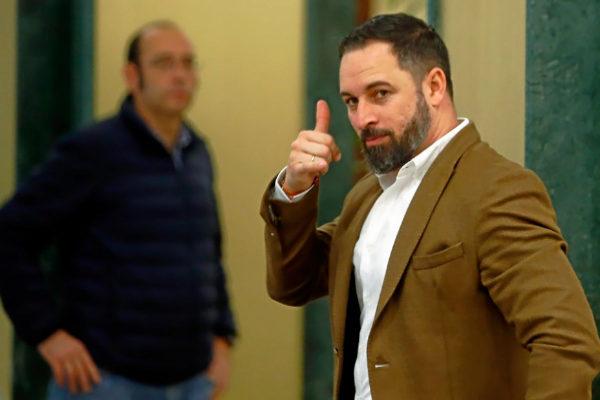 Santiago Abascal, líder de Vox, al inicio de la campaña para el...