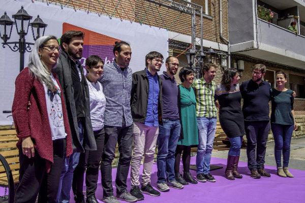 Los candidatos de Elkarrekin Podemos, ayer en Barakaldo.