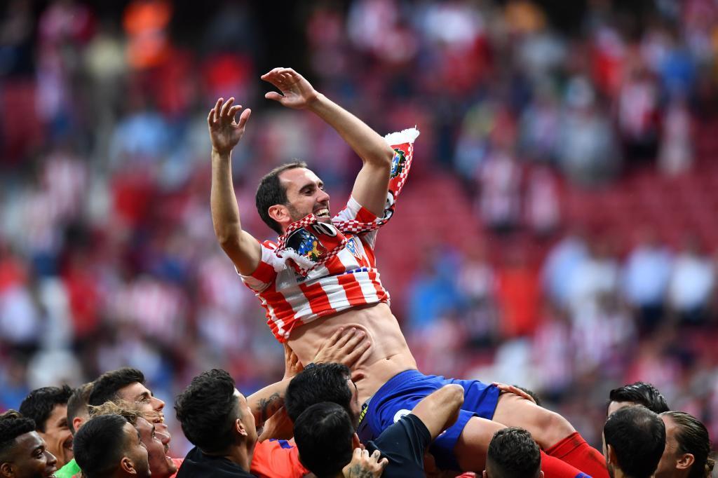 Diego Godín, llevado a hombros por sus compañeros.