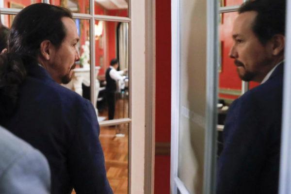 Pablo Iglesias, a su llegada a un desayuno informativo, en Madrid.