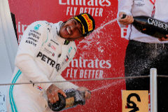 Spanish Grand Prix Formula One F1 - Spanish Grand Prix - Circuit de Barcelona-Catalunya, Barcelona, Spain - May 12, 2019 First placed Mercedes' Lewis <HIT>Hamilton</HIT> with Chairman of the Board of Management of Mercedes Benz Dieter Zetsche on the podium. REUTERS/Jon Nazca TPX IMAGES OF THE DAY