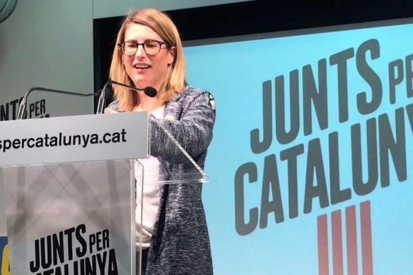 La 'número dos' de la candidata de JxCat a la Alcaldía de Barcelona, Elsa Artadi, durante un acto de campaña a las municipales del 26-M.