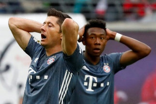 Bundesliga - RB Leipzig v <HIT>Bayern</HIT> Munich Soccer Football - Bundesliga - RB Leipzig v <HIT>Bayern</HIT> Munich - Red Bull Arena, Leipzig, Germany - May 11, 2019 <HIT>Bayern</HIT> Munich's Robert Lewandowski and David Alaba react REUTERS/Kai Pfaffenbach DFL regulations prohibit any use of photographs as image sequences and/or quasi-video TPX IMAGES OF THE DAY