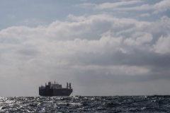 Carguero saudí cerca del puerto de Le Havre, el pasado 9 de mayo.
