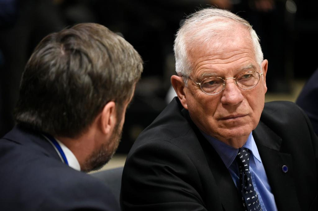 Spanish Minister of Foreign Affairs Josep <HIT>Borrell</HIT> looks on during a EU Foreign Affairs Council meeting at the EU headquarters in Brussels on May 13, 2019. (Photo by JOHN THYS / AFP)