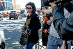 Patricia González., hoy, al salir de los Juzgados de Plaza de Castilla, en Madrid.