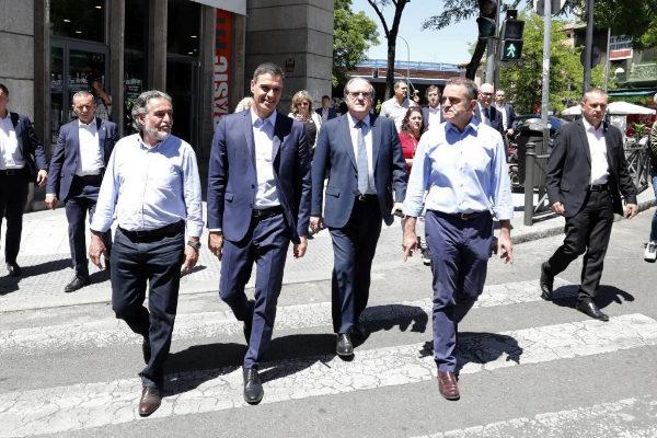 Pepu, Sánchez, Gabilondo y Franco, este lunes en Vallecas.