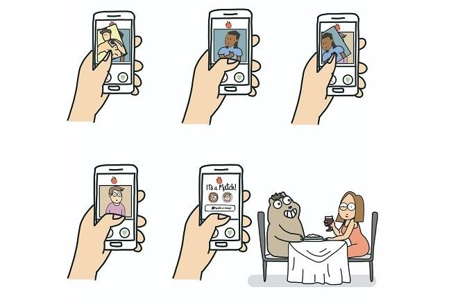 Una de las ilustraciones de 'Diré que nos conocimos en un bar'.
