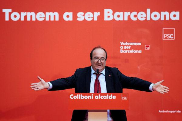 El líder del PSC, Miquel Iceta, durante un mitin en Barcelona.