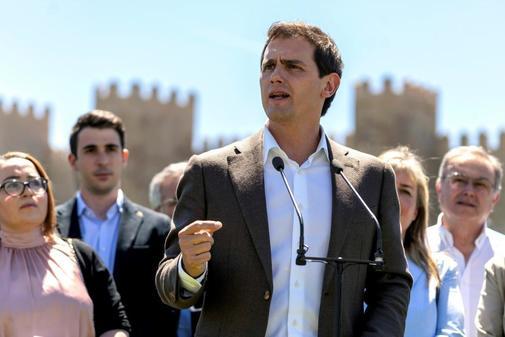 Albert Rivera, en un acto de campaña de Ciudadanos en Ávila