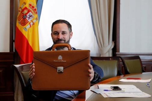 Santiago Abascal, tras registrarse como diputado en el Congreso.