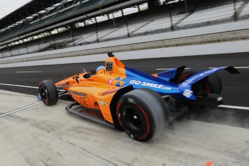 Fernando Alonso, en la preparación de las 500 Millas de Indianápolis.